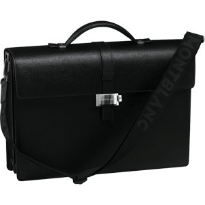 7579 Портфель Montblanc с 2 отделениями из черной зернистой кожи со съемным плечевым ремнем